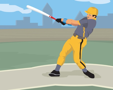 hit man: Giocatore di Baseball colpendo con una mazza da baseball