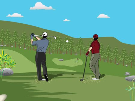 Rear view of golf players playing golf  photo