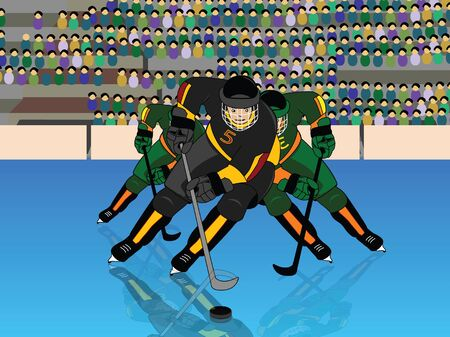 Front view of a player playing ice hockey Stock Photo - 9688971