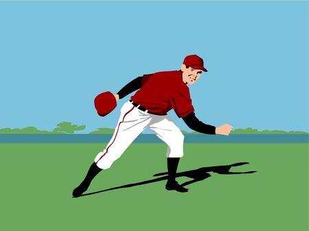 Baseball pitcher player throwing a baseball photo