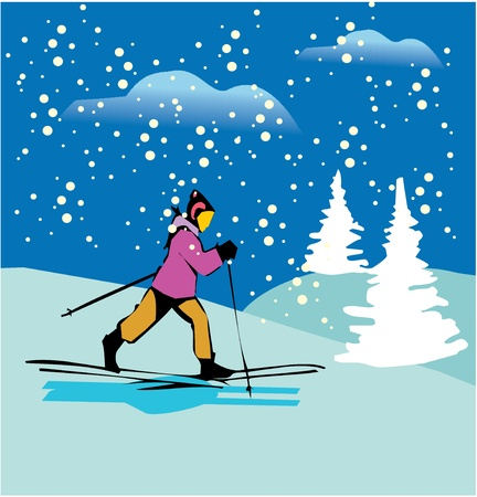 Side view of a female skiing on snow covered mountains  photo
