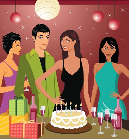 Friends celebrating birthday party Stock Photo - 9688928
