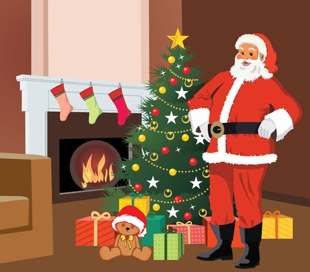 Santa claus standing with christmas tree and gifts photo