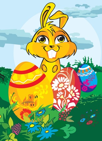 pictorial  representation: Rabbit in a park with easter eggs Stock Photo