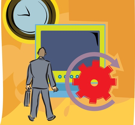 man rear view: Rear view of a man by a big computer screen and clock