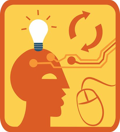Close-up of lightbulb above head with computer mouse Stock Photo - 9688509