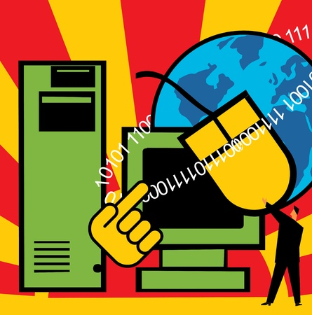 Computer with C.P.U. mouse and globe Stock Photo - 9688859