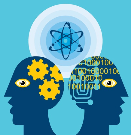 pictorial: Close-up of heads with cogwheels and atoms Stock Photo