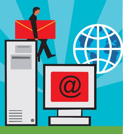 envelop: Computer; C.P.U. and globe with man holding envelop