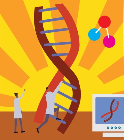 Side view of men climbing on DNA ladder Stock Photo - 9688634