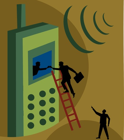 Person climbing ladder to reach the screen of a cellphone  Stock Photo - 9688525