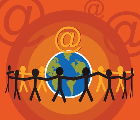 Human figures encircle earth with hand in hand Stock Photo - 9688746