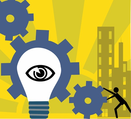 pictorial: Bulb with human eye and cog wheels Stock Photo