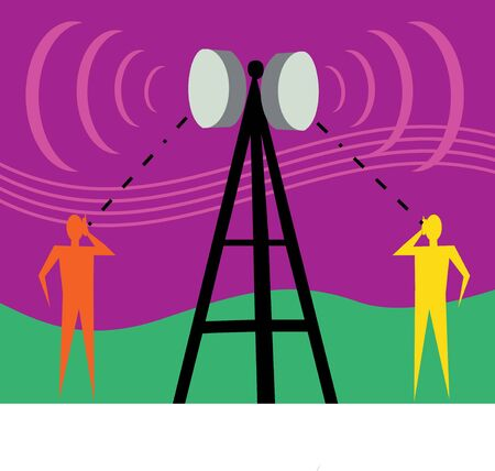 human likeness: Communication tower with human figures and signals Stock Photo