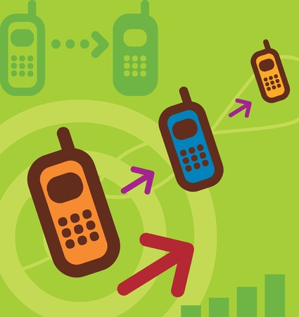 Cellular phone with arrows Stock Photo - 9688552