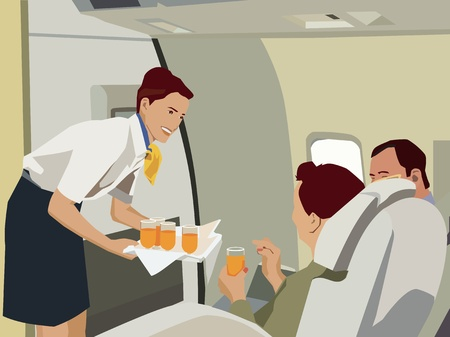 Flight attendant serving drinks to passengers in aeroplane photo