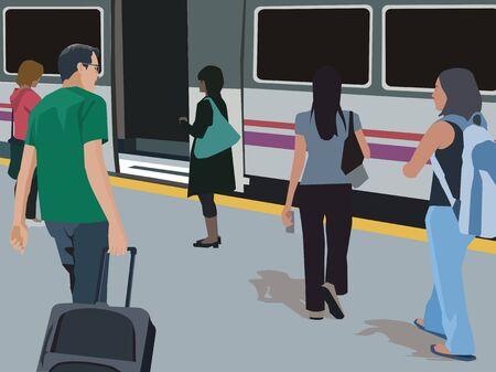 Travelers walking at metro station Stock Photo