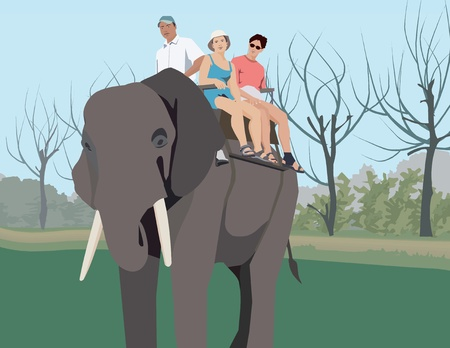 Couple riding on elephant