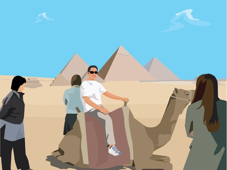 Tourists with camel in desert and Giza Pyramid in background ; Cairo Egypt photo