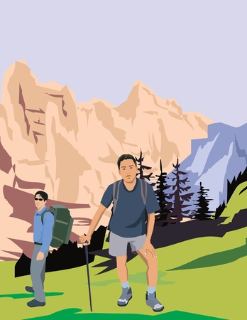 facing the camera: Mountaineers facing camera and mountains in background Stock Photo