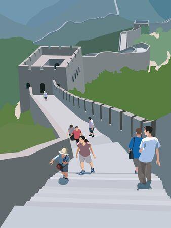 Toeristen die langs de Grote Muur van China lopen; Badaling China Stockfoto