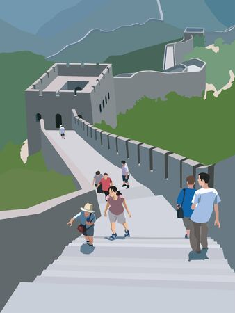 great wall of china: Tourists walking along the Great Wall of China; Badaling China