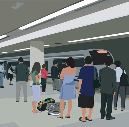 Travelers standing at metro station photo