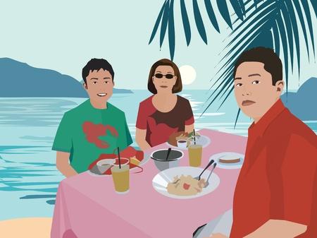 Tourists having breakfast by beach Stock Photo - 9688879