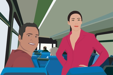 Couple facing camera while traveling in bus Stock Photo