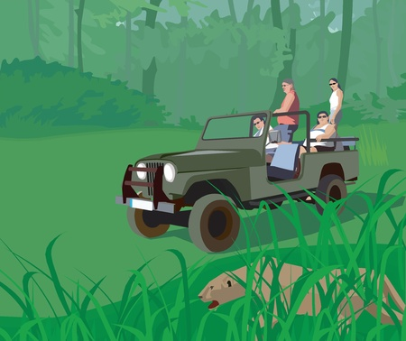 Tourists in safari vehicle looking at tiger (cartoon, jeep,\ safari)