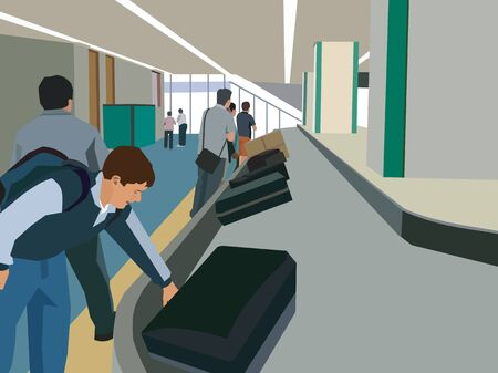 Travelers collecting their luggage from luggage carousel Stock Photo