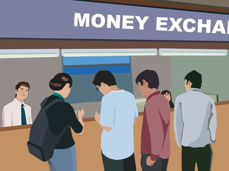 Rear view of people at money exchange counter Stock Photo - 9688681