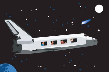 People traveling by space shuttle photo
