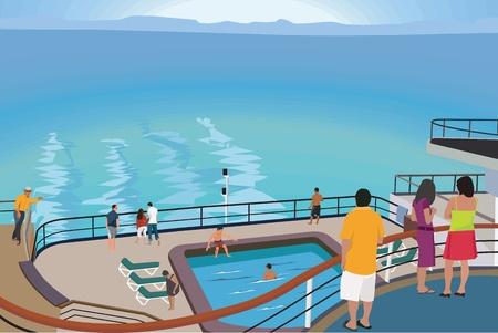 Tourists on cruise ship photo