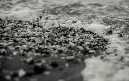 A macro shot of sea waves moving through seashells