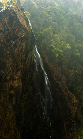 waterfall from the famous jogfalls in Karnataka, India during a summer day