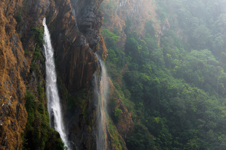Strong waterfalls from the mountains in Karnataka, India Stock Photo