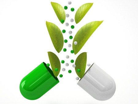 quimica organica: médico píldora a base de hierbas con la planta verde sobre fondo blanco