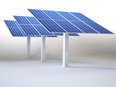 白で隔離された太陽電池パネル 写真素材