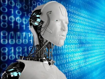 ロボット アンドロイド男性とコンピューターの背景