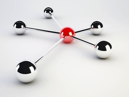 connectivity concept: network concept on white background with a sphere Stock Photo