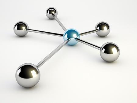 球と白い背景の上のネットワークの概念