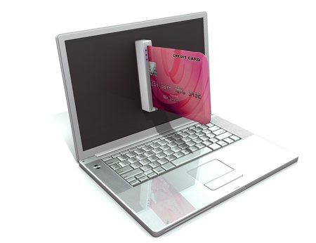laptop and credit card, E-commerce concept photo