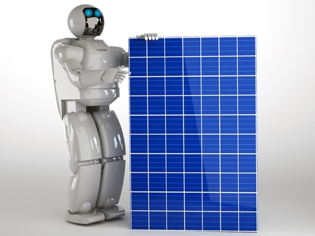 solar panel with robot Stock Photo - 16774289