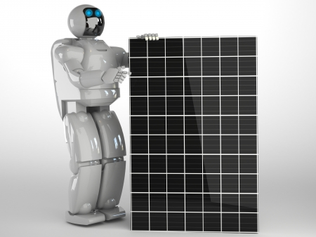 solar panel with robot Stock Photo - 16774239