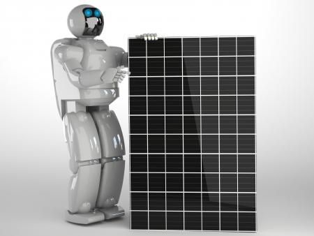 solar panel with robot Stock Photo - 16774239