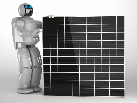 solar panel with robot Stock Photo - 16773823
