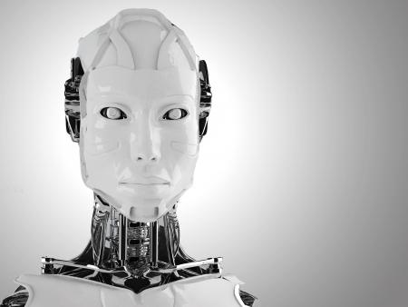 mano robotica: robot androide mujeres Foto de archivo