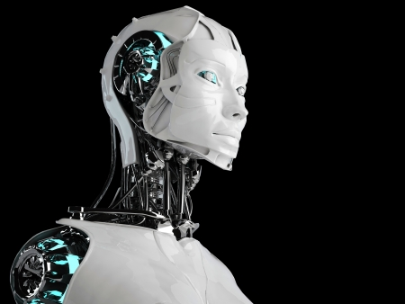 robot woman: robot android women Stock Photo