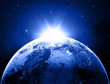Earth with Rising Sun Stock Photo - 16774451